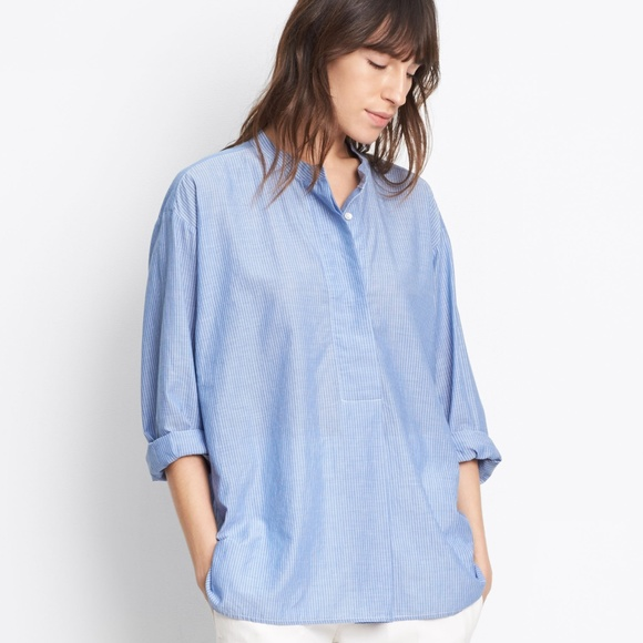 22f79ef8263bdc VINCE SKINNY STRIP PLACKET SHIRT CHAMBRAY BLOUSE